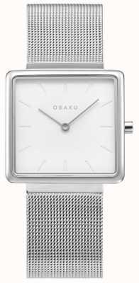 Obaku | Women's Kvadrat Steel | Silver Mesh Bracelet | White Dial V236LXCIMC