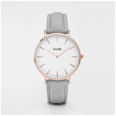 CLUSE | La Bohème | Grey Leather Bracelet | White Dial | CL18015
