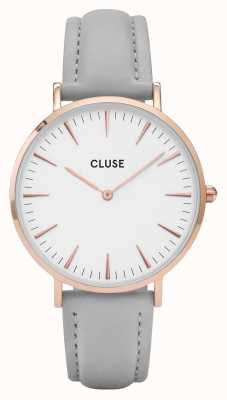 CLUSE | La Bohème | Grey Leather Bracelet | White Dial | CL18015