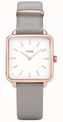 CLUSE | La Tétragone | Grey Leather Strap | White Dial | CW0101207004