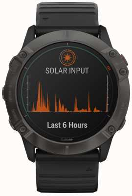 Garmin Fenix 6X Pro Solar | Titanium Carbon Grey DLC | Black Strap 010-02157-21