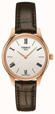 Tissot Women's Tradition | Brown Leather Strap | Silver Dial T0632093603800
