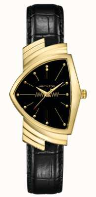 Hamilton | Ladies Ventura Quartz | Black Leather Strap | Gold Case | H24301731