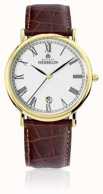 Michel Herbelin Mens Classic|Brown Leather Strap 12248/P01MA