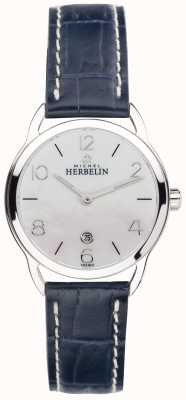 Michel Herbelin Womens MOP Dial Stainless Steel Equinoxe Blue Strap 16977/19BL