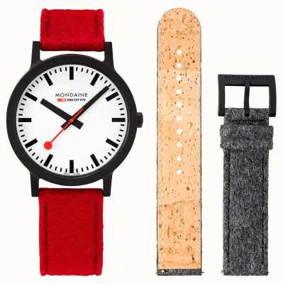 Mondaine Essence Set | 41mm | Red PET Felt Strap Set | MS1.41110.LC.SET