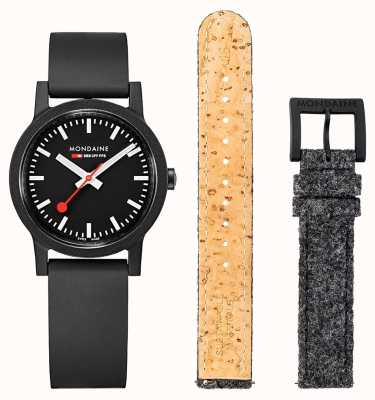 Mondaine | Essence Set | 32mm | Black Rubber Strap Set MS1.32120.RB.SET