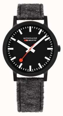 Mondaine | Essence | 41mm | Black Dial | Grey PET Felt Strap | MS1.41120.LH