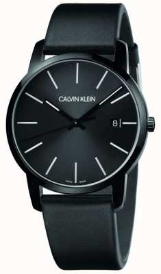 Calvin Klein | Men's City | Black Leather Strap | Black Dial | K2G2G4CX