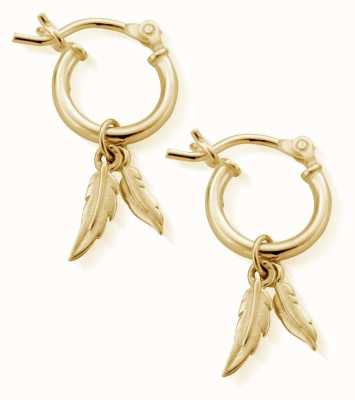 ChloBo Small Gold Double Feather Hoop Earrings GEH1096