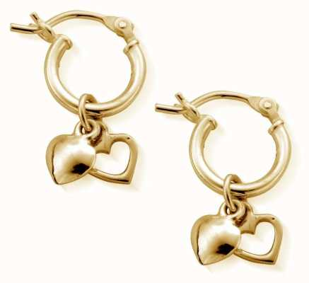 ChloBo Small Gold Double Heart Hoop Earrings GEH1068