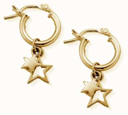 ChloBo Small Gold Double Star Hoop Earrings GEH1128