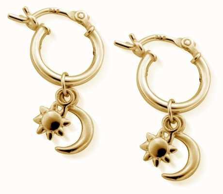 ChloBo Small Gold Moon And Star Hoop Earrings GEH1097