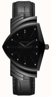 Hamilton Ventura   Men's Black Leather Strap   Black Dial   H24401731