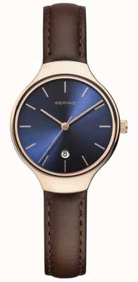 Bering | Women's Classic | Brown Leather Strap | Blue Dial | 13328-567