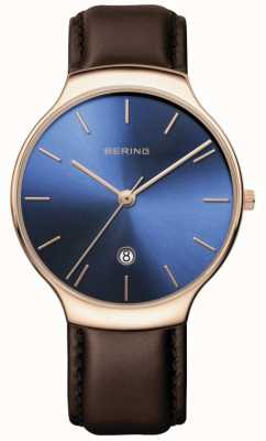 Bering | Women's Classic | Brown Leather Strap | Blue Dial | 13338-567