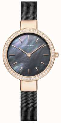 Bering Women's Classic | Black Mesh | Mother Of Pearl Dial 16831-162