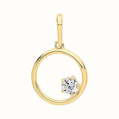 Treasure House 9ct Yellow Gold  Circle And Cubic Zirconia Pendant Only PN1128