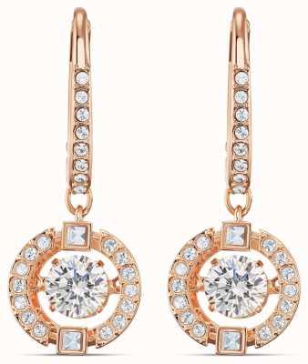 Swarovski Sparking Dance   Pierced Earrings   Rose Gold Plated   White 5504753