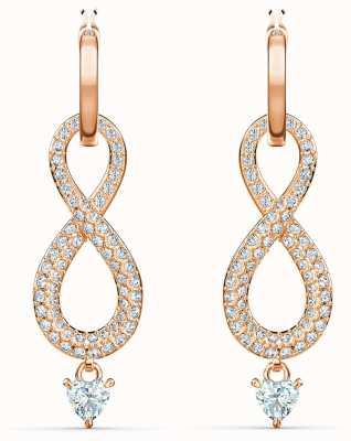 Swarovski Infinity | Rose Gold Pierced Earrings | White 5512625