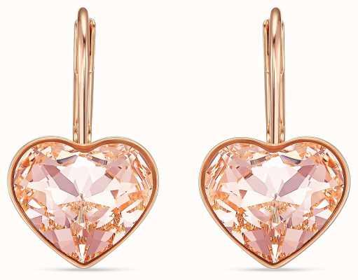 Swarovski Bella | Heart Pierced Earrings | Rose Gold Plated | Pink 5515192