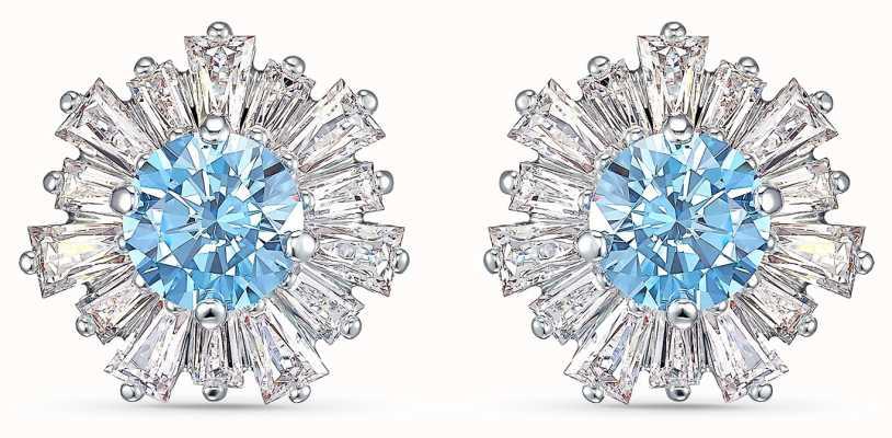Swarovski Sunshine | Pierced Earrings | Rhodium Plated | Blue | 5536741
