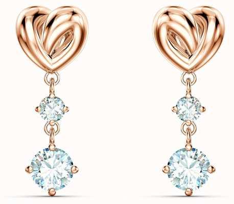 Swarovski Lifelong Heart | Pierced Earrings | Rose Gold Plated | White 5517942