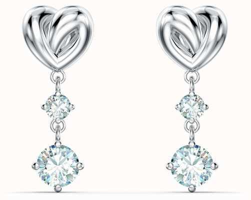 Swarovski Lifelong Heart | Pierced Earrings | Rhodium Plated | White 5517943