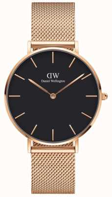 Daniel Wellington | Petite Melrose 36 | Rose Gold Mesh | Black Dial | DW00100303