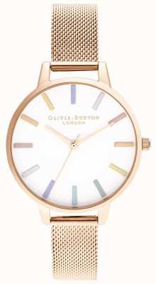 Olivia Burton | Womens | Rainbow | Rose Gold Mesh Bracelet | OB16RB24
