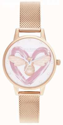 Olivia Burton Lucky Bee, Silver & Rose Gold Mesh OB16FB01