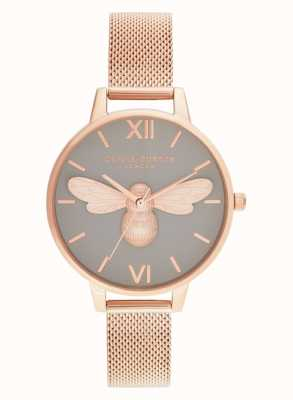 Olivia Burton Lucky Bee, Grey Dial & Rose Gold Mesh OB16FB10