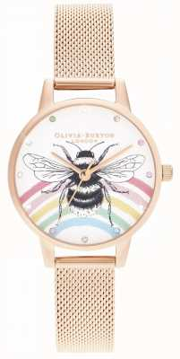 Olivia Burton Illustrated Rainbow Bee, Rose Gold Mesh OB16WL90
