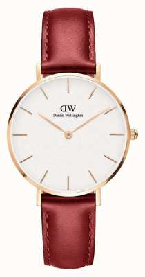 Daniel Wellington Unisex Petite Suffolk 32mm Rose Gold Red Leather DW00100265