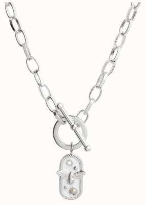 Olivia Burton Lucky Bee | White Enamel Bee | Chain Necklace Silver OBJAMN78