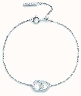 Olivia Burton Bejewelled Classics | Rainbow Interlink Bracelet Silver OBJRBB01