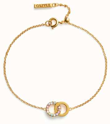 Olivia Burton Bejewelled Classics | Rainbow Interlink Bracelet Gold OBJRBB02