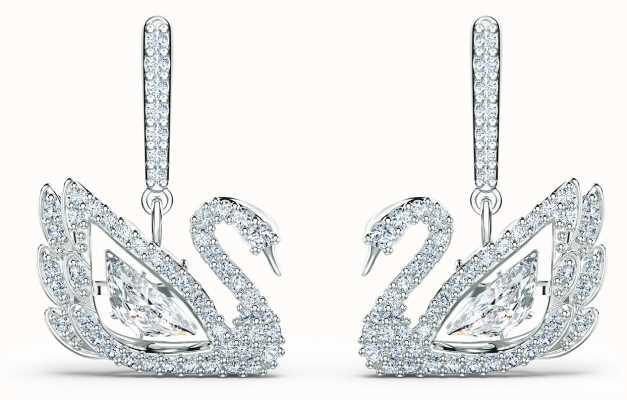 Swarovski Dancing Swan   Pierced Earrings   Rhodium Plated   White 5514420