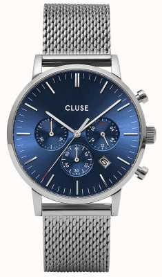 CLUSE Aravis Chrono | Stainless Steel Mesh Bracelet | Blue Dial | CW0101502004