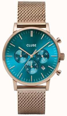 CLUSE Aravis Chrono | Rose Gold Mesh Bracelet | Ocean Blue Dial CW0101502005