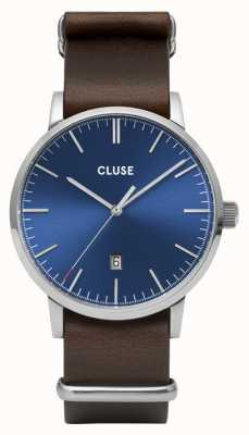 CLUSE Aravis | Nato Brown Leather Strap | Blue Dial CW0101501008