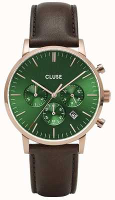 CLUSE Aravis Chrono | Brown Leather Strap | Green Dial CW0101502006