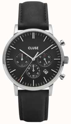 CLUSE Aravis Chrono | Black Leather Strap | Black Dial CW0101502001