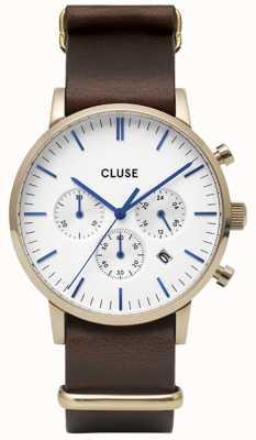CLUSE Aravis Chrono | Brown Nato Strap | White Dial CW0101502009