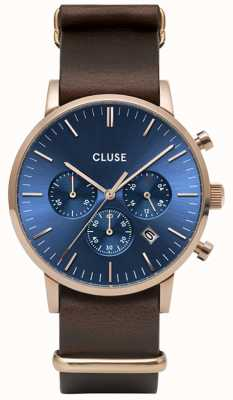 CLUSE Aravis Chrono | Brown Nato Strap | Dark Blue Dial CW0101502008