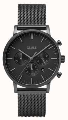 CLUSE Aravis Chrono | Black Steel Mesh Bracelet | Black Dial CW0101502007
