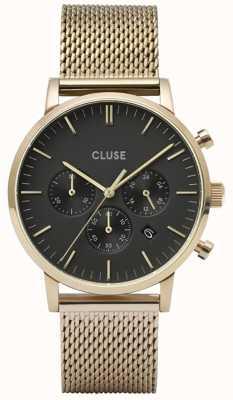 CLUSE Aravis Chrono | Gold Plated Mesh Bracelet | Black Dial CW0101502010