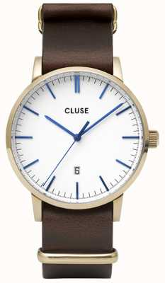 CLUSE Aravis | Nato Brown Leather Strap | White Dial CW0101501007