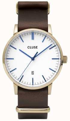 CLUSE | Aravis | Nato Brown Leather Strap | White Dial | CW0101501007