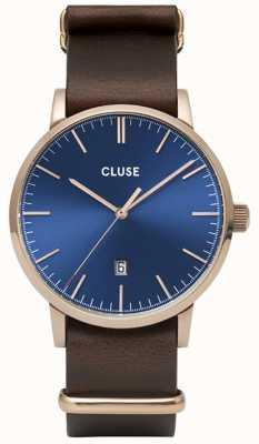 CLUSE | Aravis | Brown Nato Strap | Blue Dial | CW0101501009